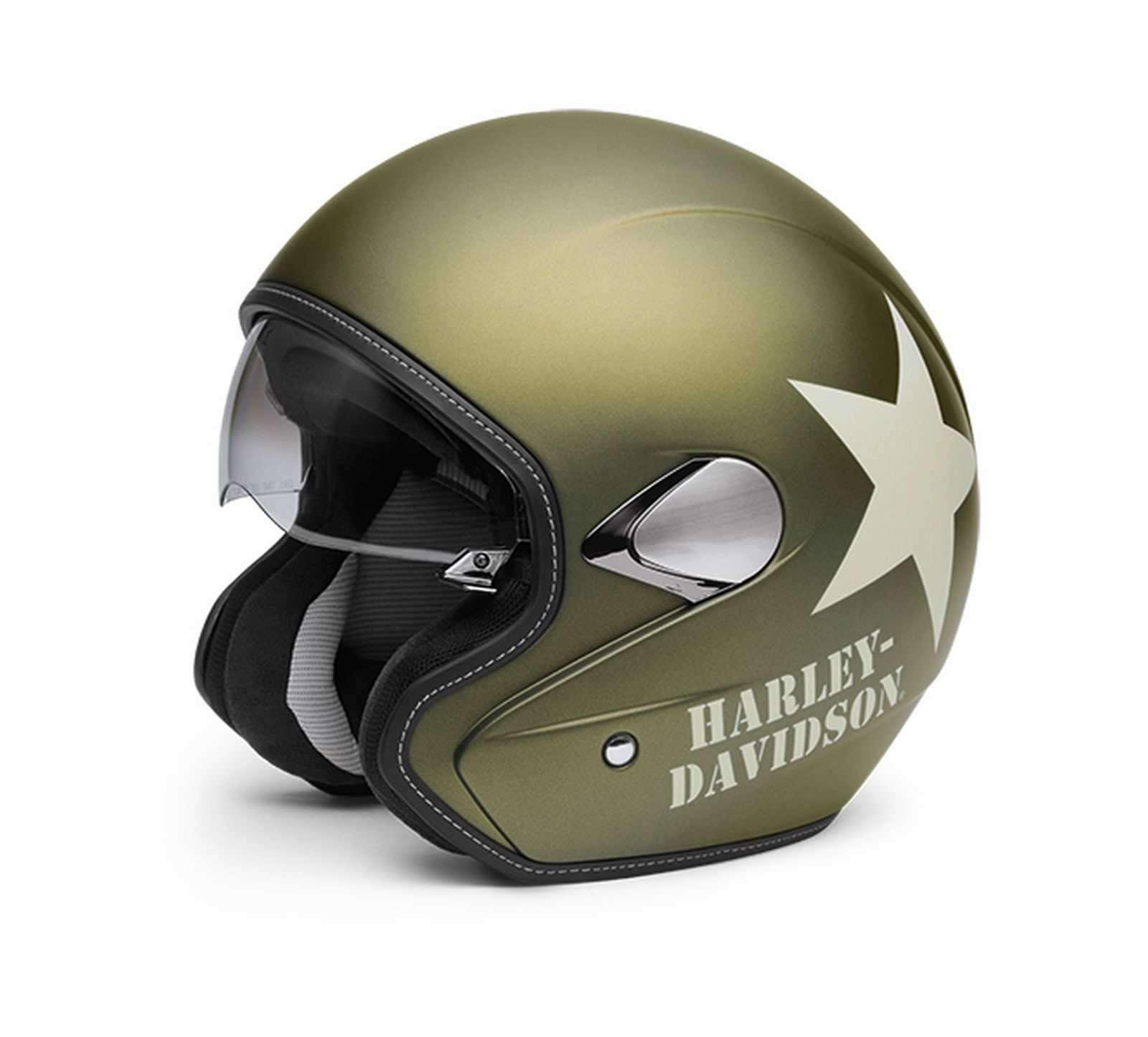 harley davidson military retro 3 4 helmet olive gold large ebay. Black Bedroom Furniture Sets. Home Design Ideas